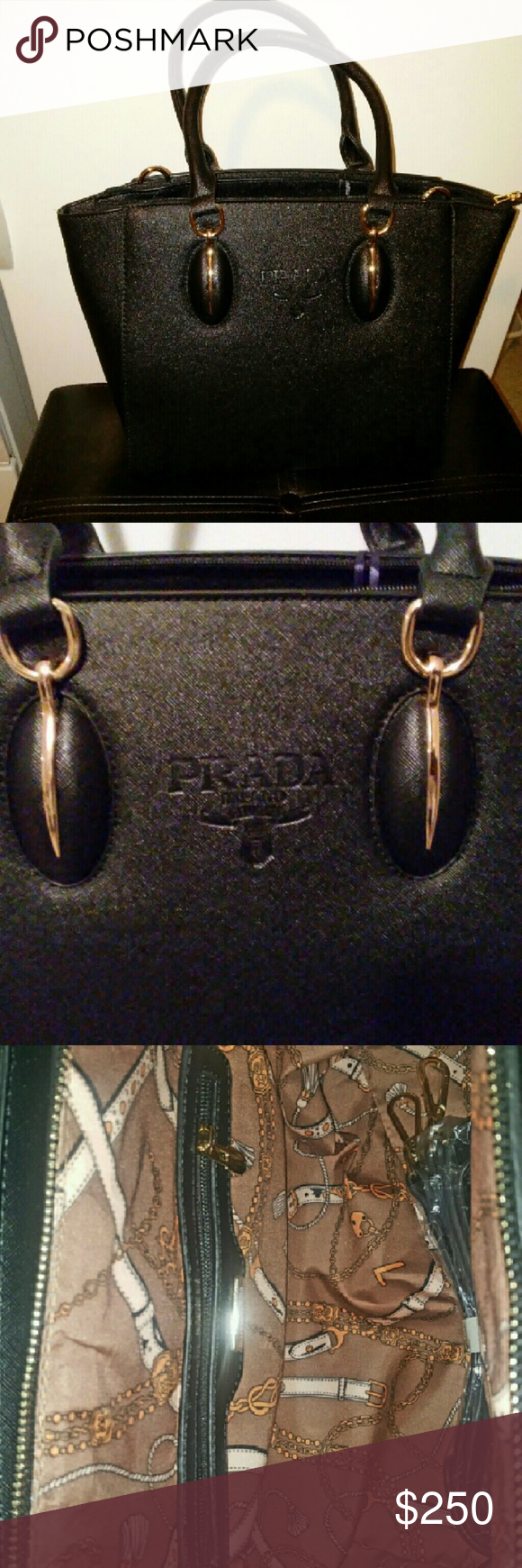Prada All leather comes with shoulder strap if u don't want to carry it prada Bags Shoulder Bags