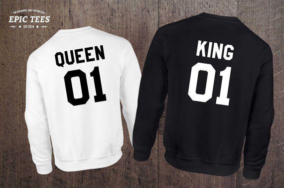 King Queen 01 Set of 2 Couple Crewnecks, King Queen 01 Set of 2 Couple  Sweaters,