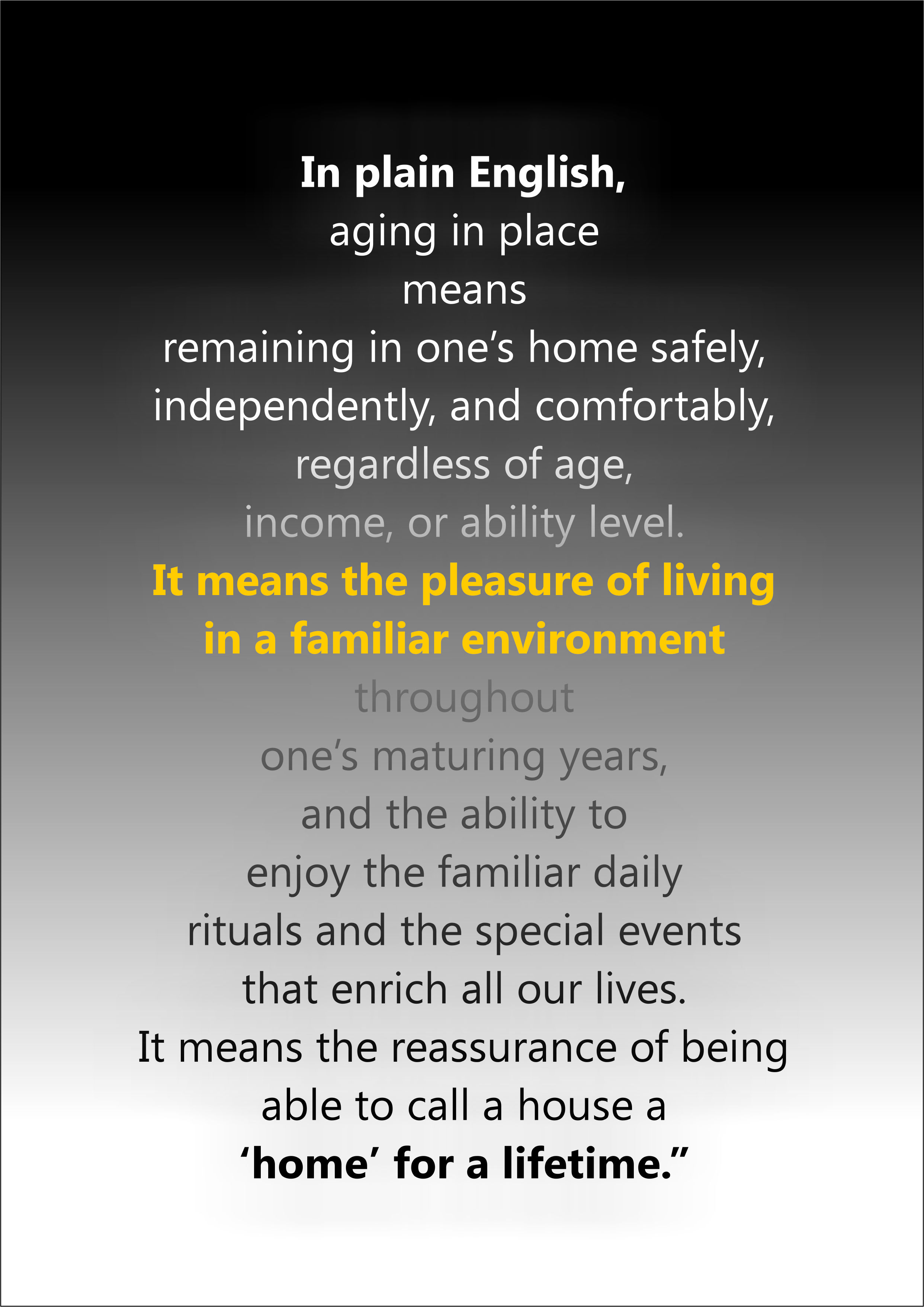 Goodenough definition of aging in place but it links to