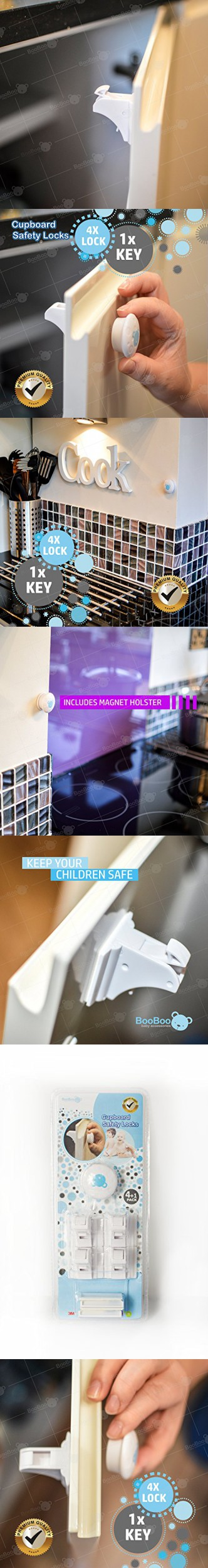 BooBoo Child/ Baby Safety Cupboard Locks (4 Locks 1 Key