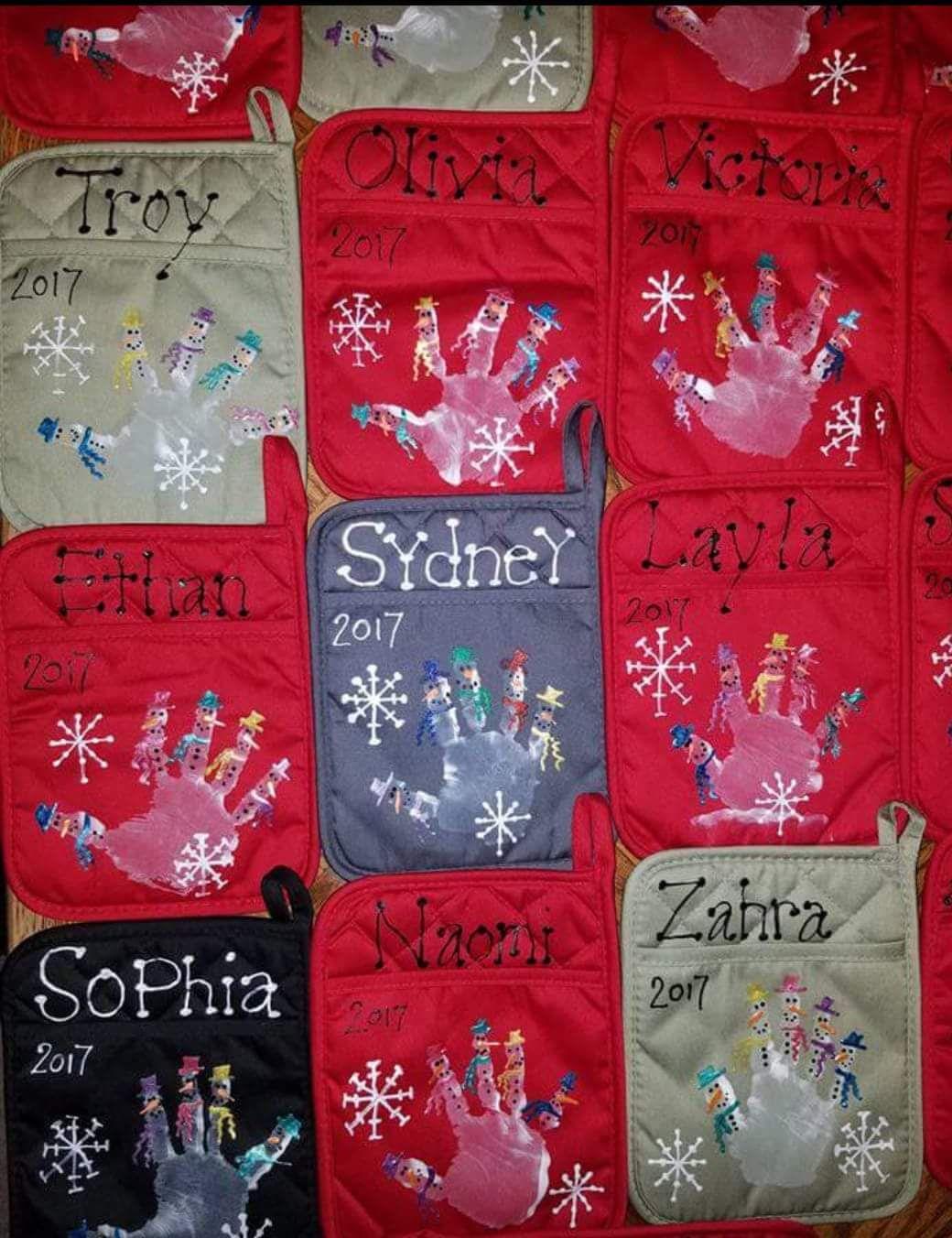 Parent Gift Snowman Handprint On Dollarstore Pot Holder Preschool Gifts Preschool Parent Christmas Gifts Diy Teacher Gifts