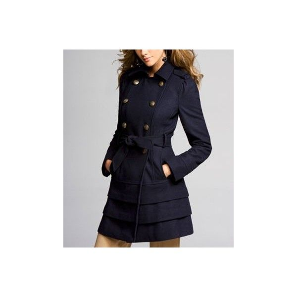 TIERED-BOTTOM WOOL TRENCH COAT at Express