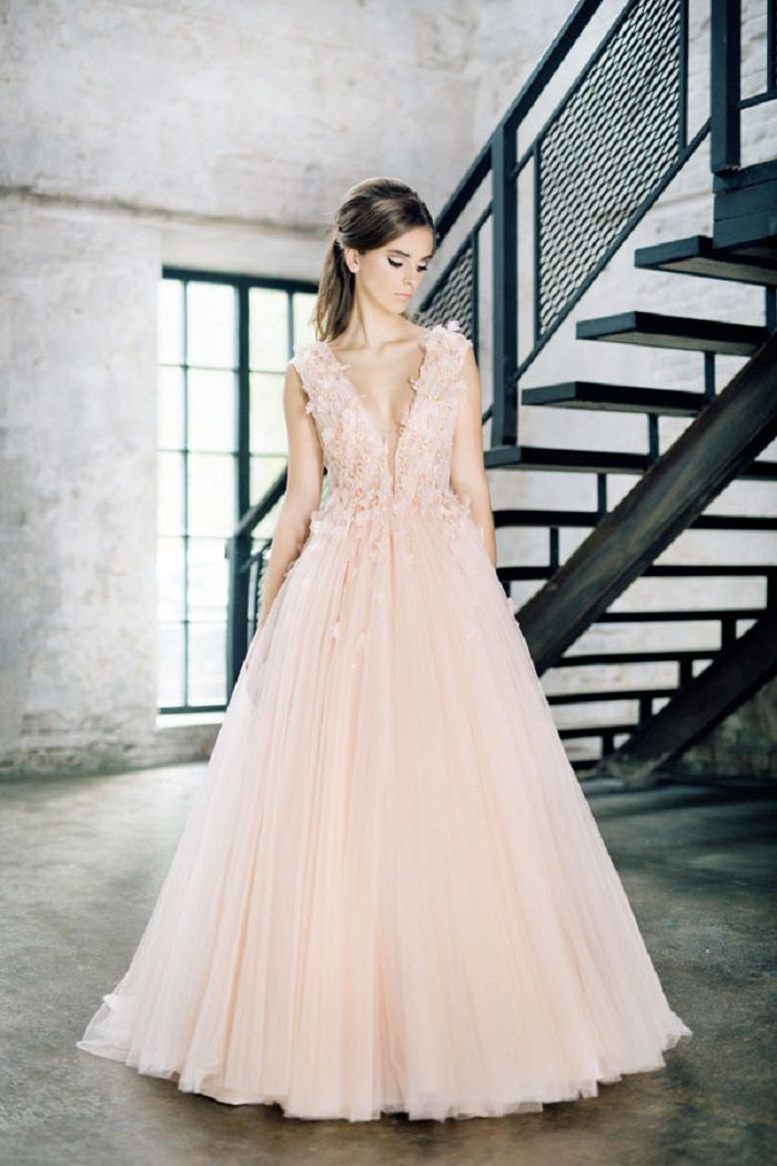 Blush pink wedding dress #weddinggown #weddinginspiration #gown #blush #coloredweddingdress #blushwedding
