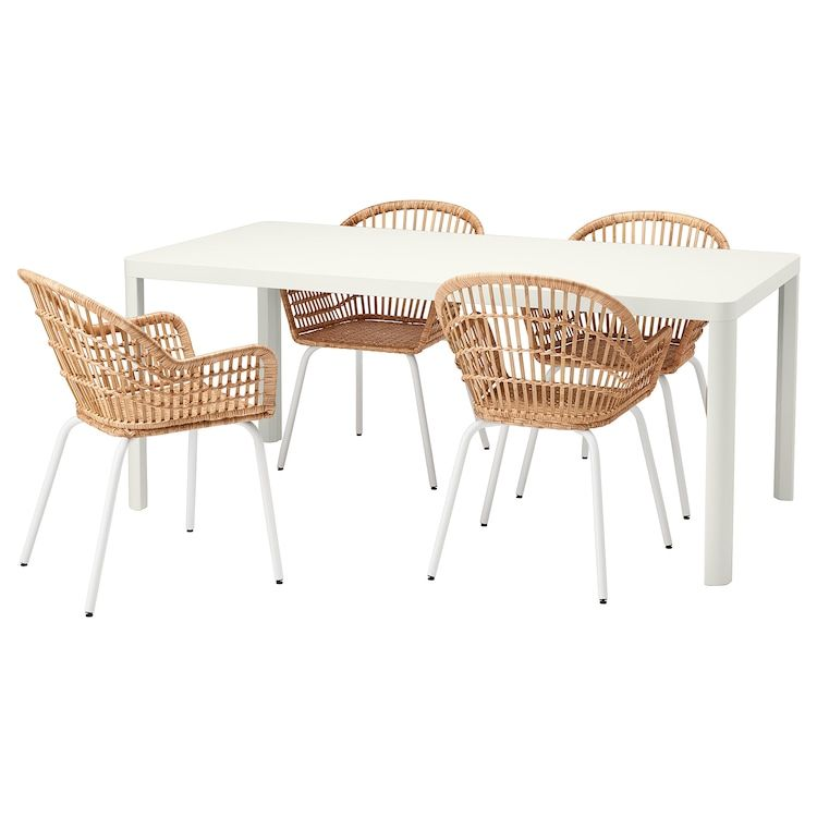 Tingby Nilsove Table And 4 Chairs White Rattan White Ikea In 2020 Dining Room Sets Ikea Dining Sets Ikea Dining