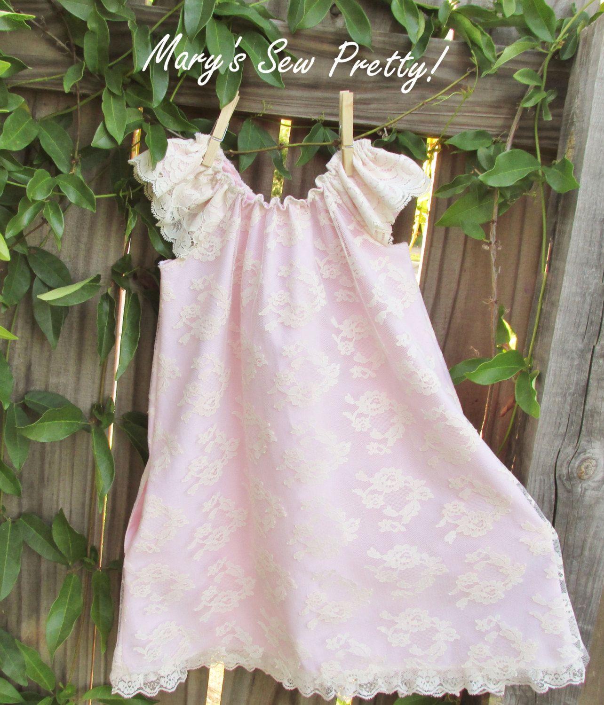 Blush pink girl dress  Girls dress blush pink dress with lace overlay flower girl dress
