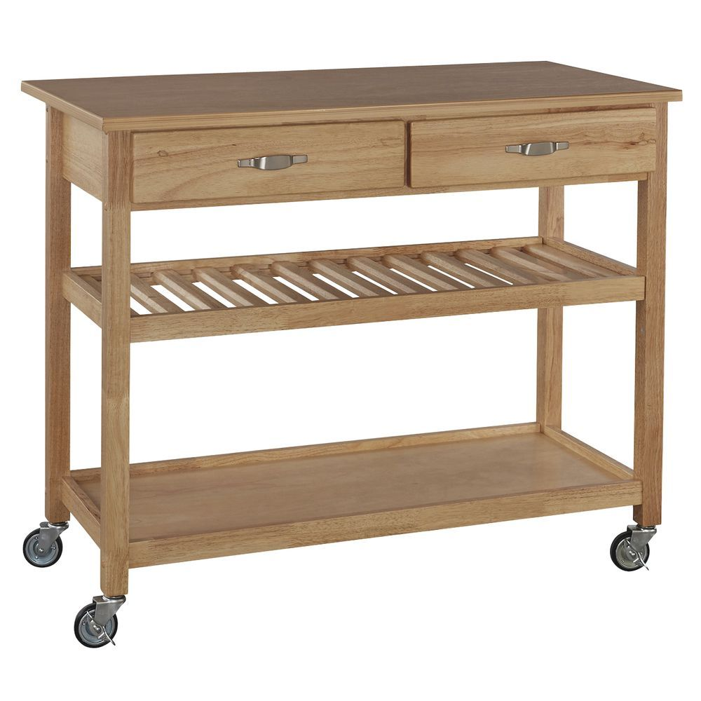 Wood Serving Cart With Natural Wood Top 46 L X 19 D X 36 H White Kitchen Cart Home Styles Kitchen Cart