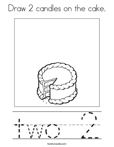 Draw 2 candles on the cake Coloring Page - Twisty Noodle ...