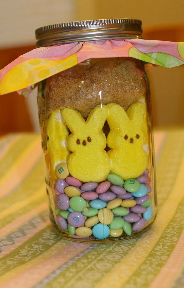 Homemade easter mason jar with bunny marshmallow candies diy homemade easter mason jar with bunny marshmallow candies diy easter crafts for kids 2014 negle Images