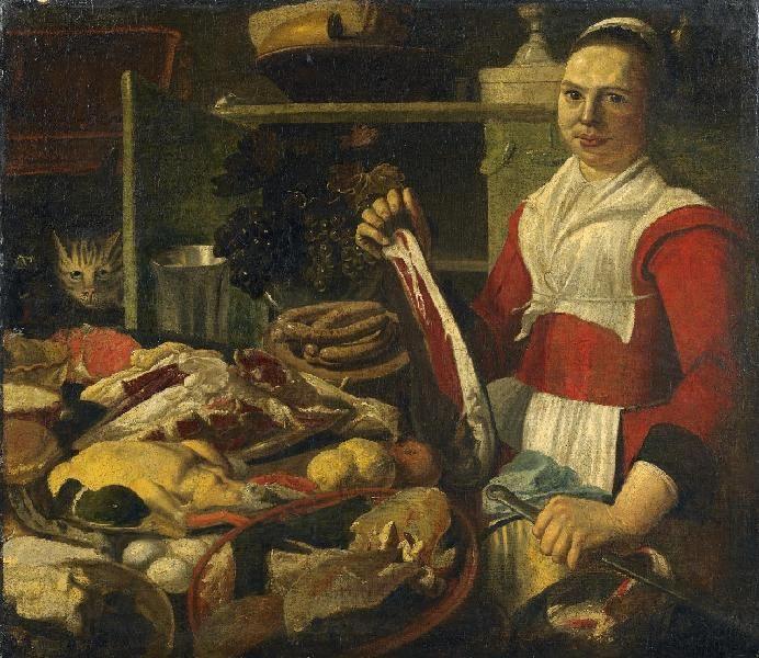 Pieter Corneliusz. van Rijck: Großes Küchenstillleben aus unserer Rubrik: Gemälde des 16. bis 18. Jahrhunderts