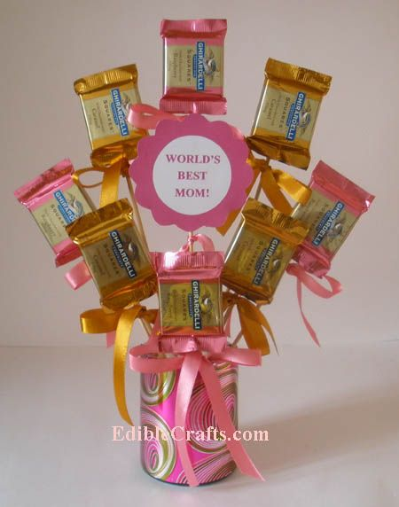 Diy Candy Centerpiece Front View Gift Baskets Pinterest