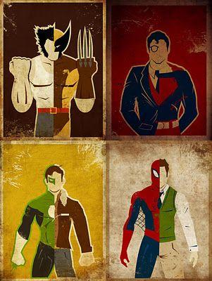 Wolverine; Super Man; Green Lantern; Spider Man.