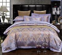 럭셔리 보라색 침구 세트 라일락 보라색 새틴 이불 커버 세트 자카드 침대 시트 침대 가방 린넨 킹 퀸 사이즈 4 개