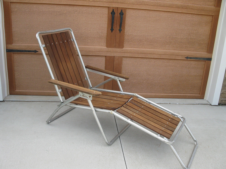 Vintage Cedar Lounge Lawn Chair Reclining 60s Wood Lawn Chair
