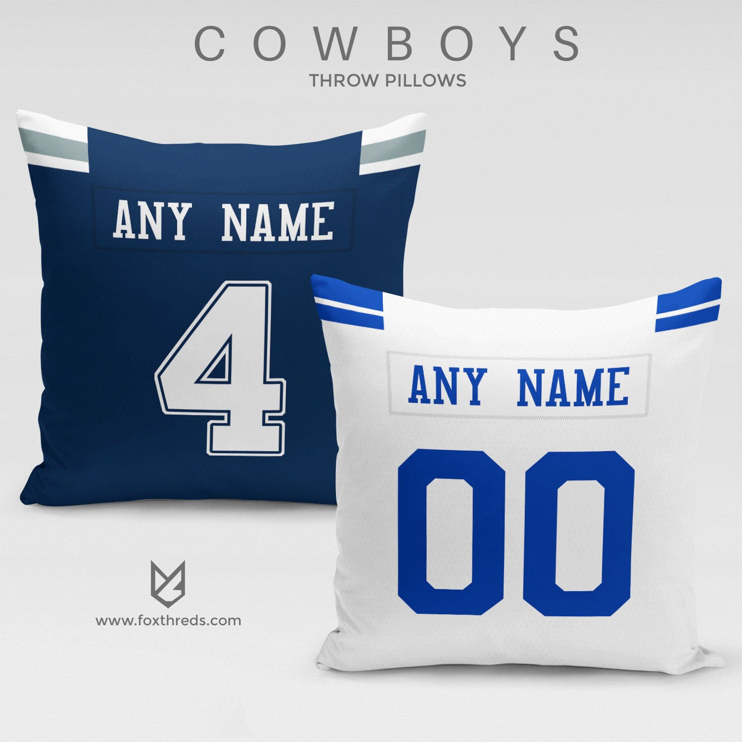 9d8657f3a DALLAS COWBOYS PILLOW FRONT AND BACK - PERSONALIZED SELECT ANY NAME   ANY  NUMBER