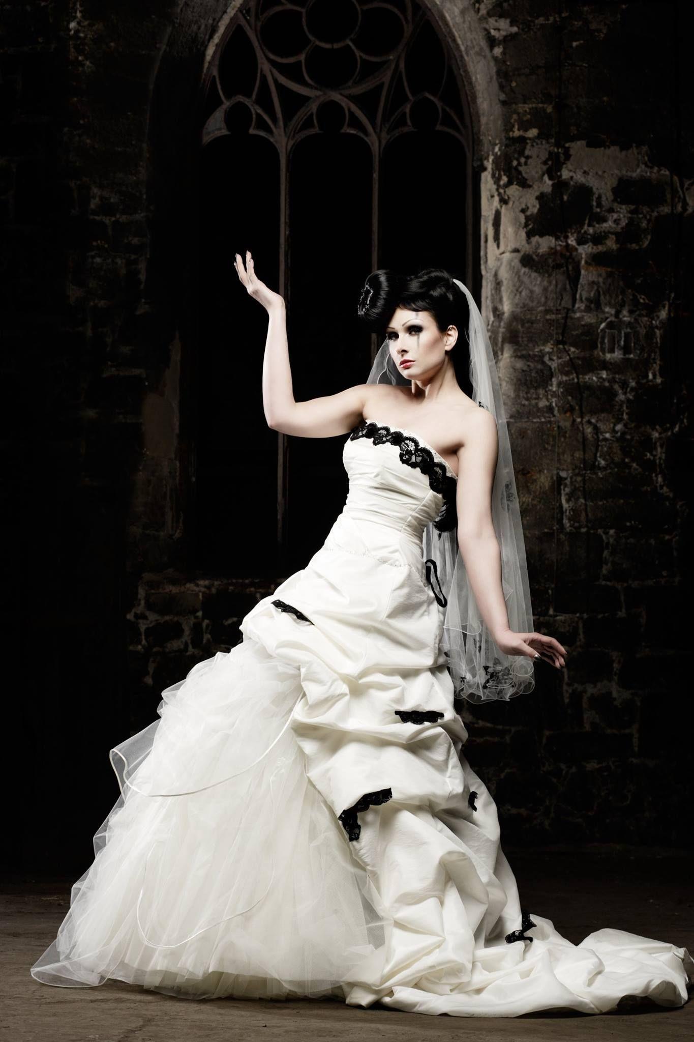 White Wedding Dress With Black Ornaments Dark Romantic Gothic