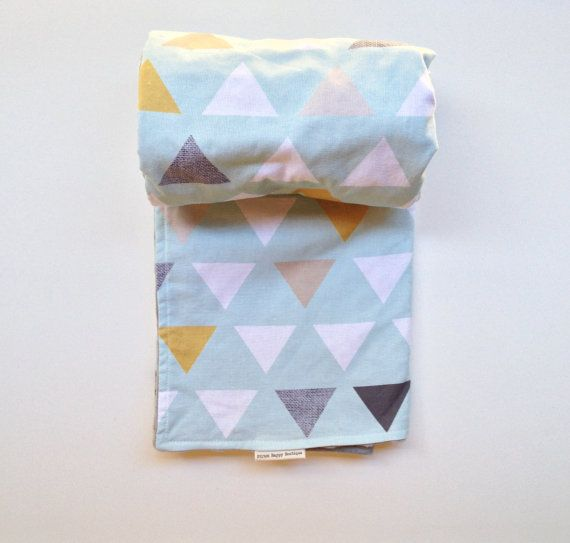 Baby Or Toddler Blanket Triangles On Mint With Grey Minky
