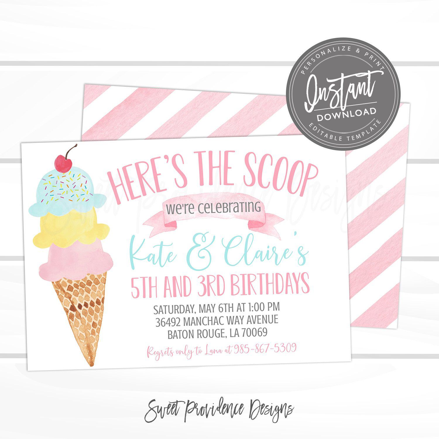 Ice Cream Sibling Birthday Party Invitation, Joint Birthday, Pink Ice Cream Social Invite, Editable Birthday template, Instant Access #icecreambirthdayparty