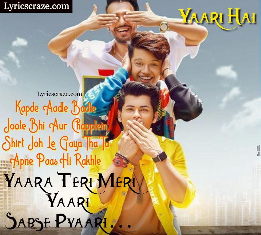 यारी है – Yaari hai Lyrics In English & Hindi -Tony Kakkar | Beautiful  lyrics, Lyrics, Songs
