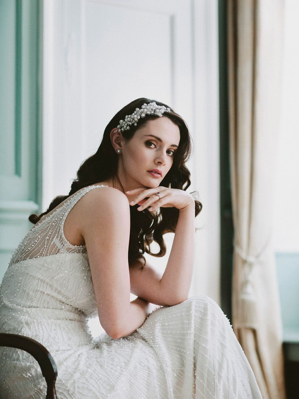 cd9dddbef48 Bride Bridal Dress Gown Beaded 1930s Hairpiece Glamorous Vintage Eggington  House Wedding Ideas David Jenkins Photography #wedding #Bride #Bridal  #Beaded ...