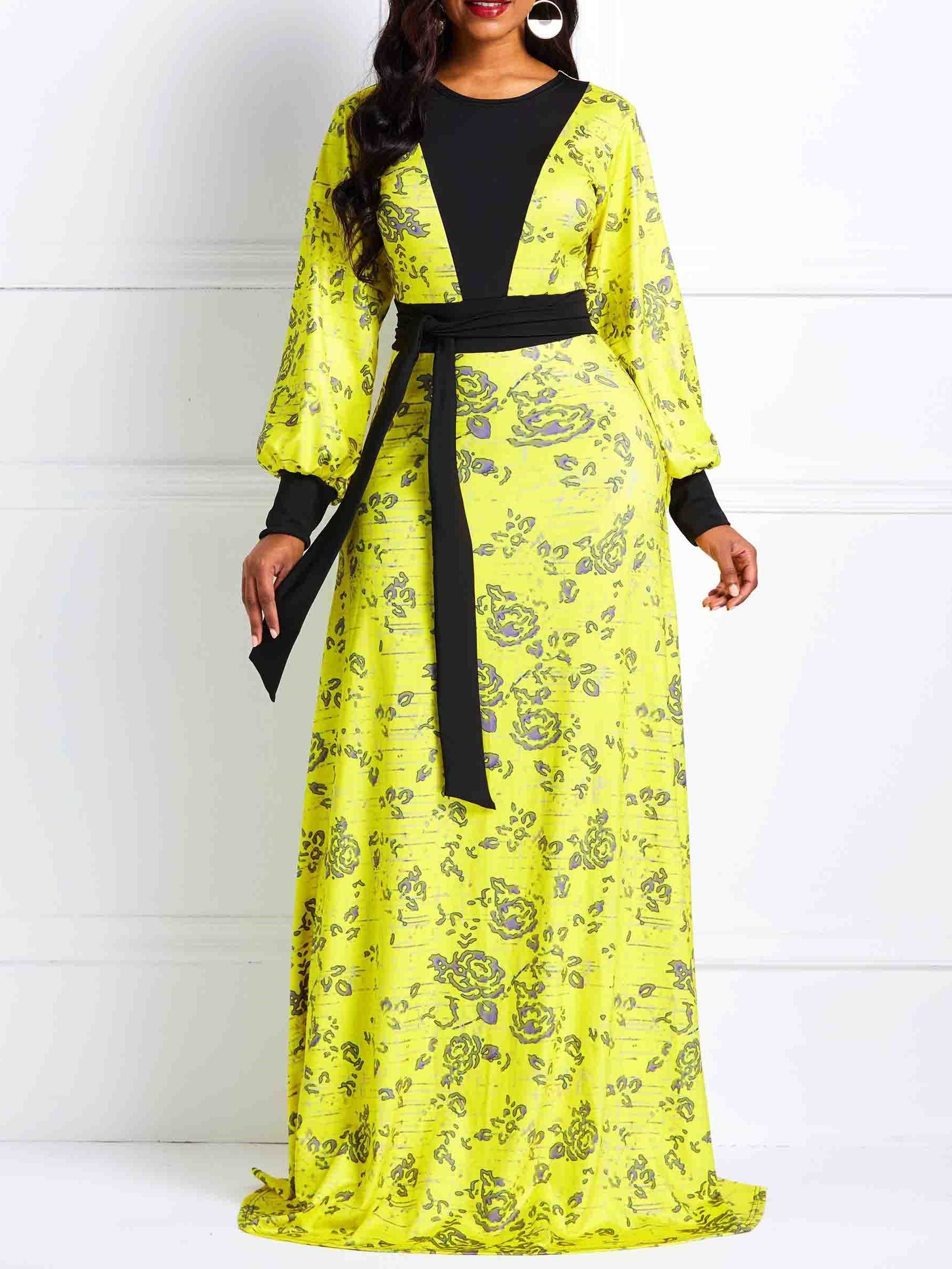 890382c70a0 Floor-Length Long Sleeve Pullover Floral Women s Maxi Dress in 2019 ...