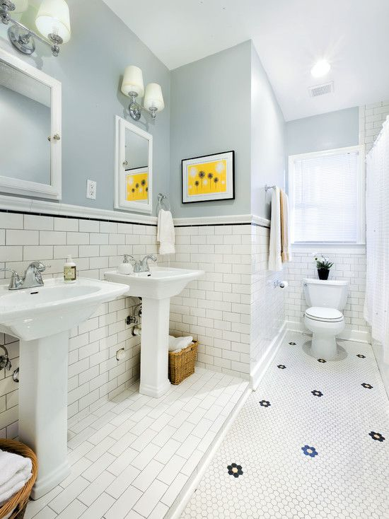 1930s bath with original hexagonal daisy tile  subway tile wainscoting  and  gray black. 1930s bath with original hexagonal daisy tile  subway tile