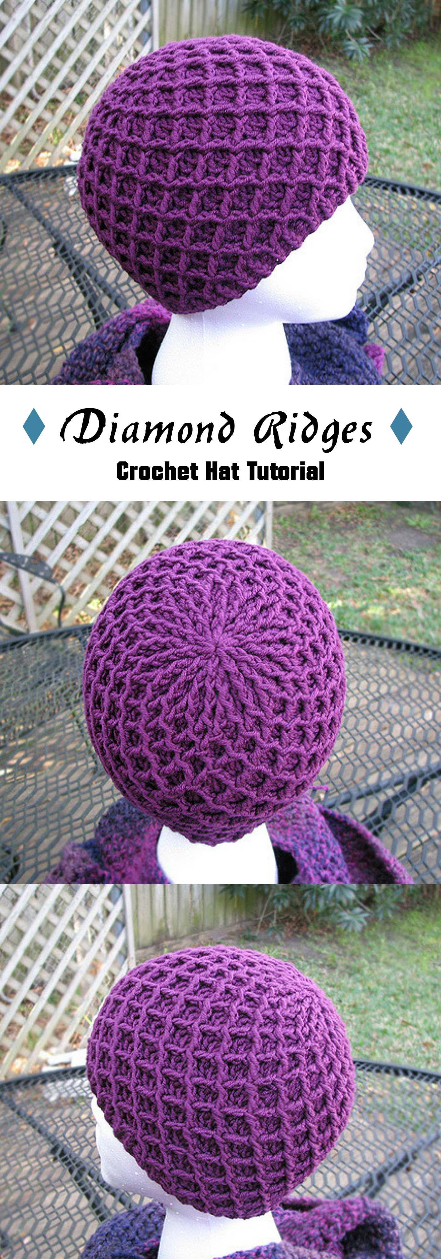 Crochet Diamond Ridges Hat   Gorros, Tejido y Ganchillo