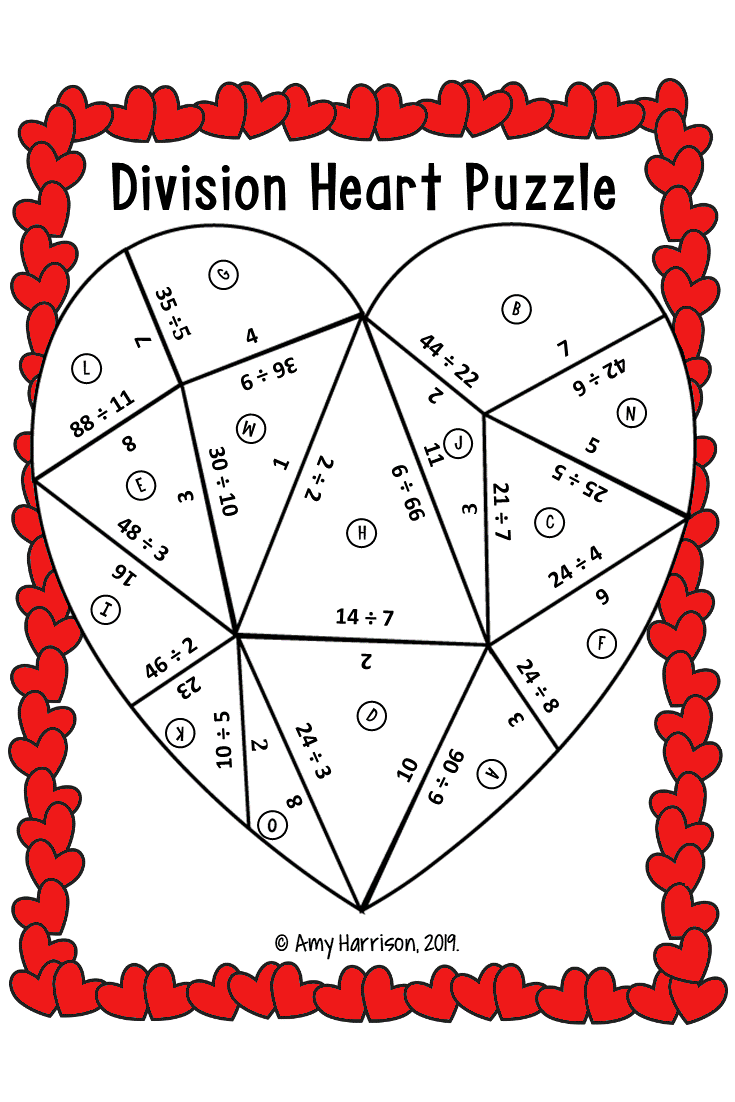Division Valentine S Day Puzzle 3rd 4th 5th Grade Math Fun Math Activities Maths Puzzles Fun Math Worksheets [ 1102 x 735 Pixel ]