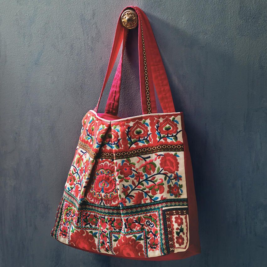 b319ec3d2f Embroidered Tote Bag – Hand stitched and embroidered with vibrantly dyed  shimmering threads   Craft by World Market