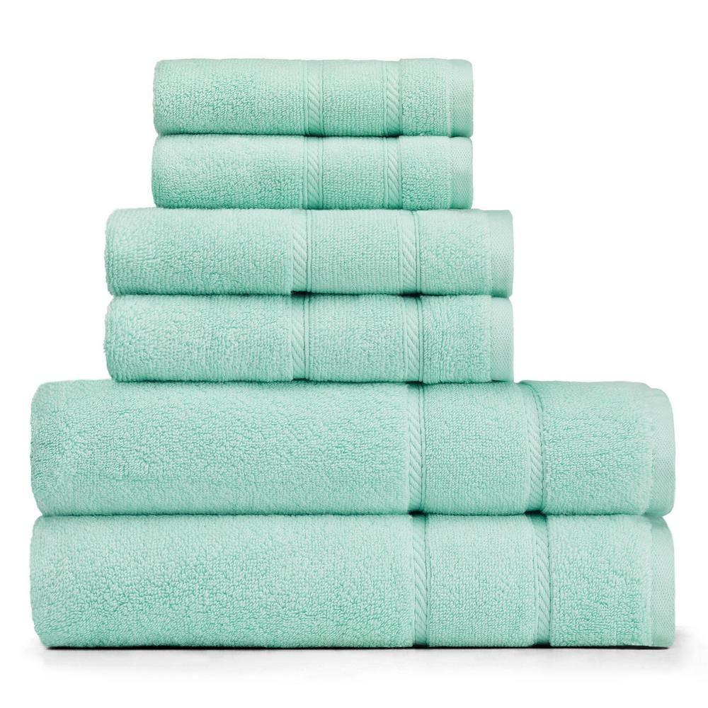 Nautica Belle 6 Piece Green Solid Bath Towel Set Towel Set Towel Bath Towels