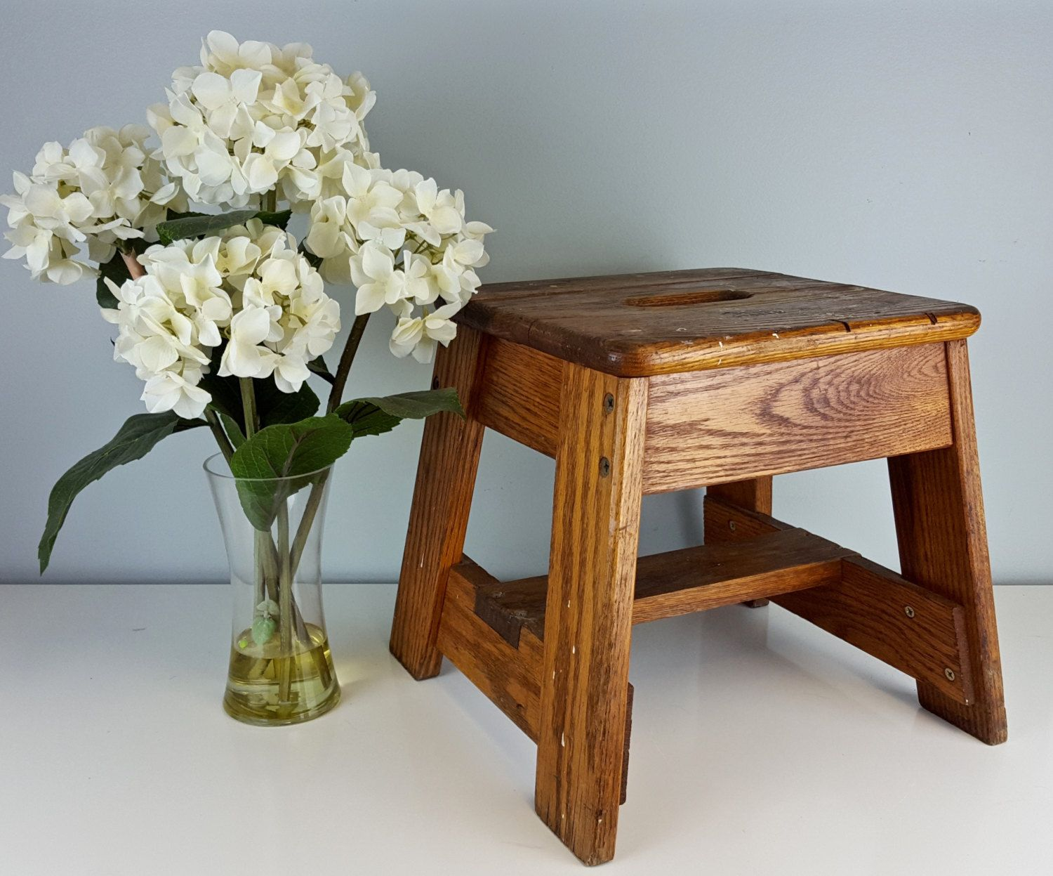 Cool Vintage Bell System Wooden Step Stool Oak Step Stool Handle Machost Co Dining Chair Design Ideas Machostcouk
