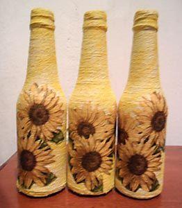 Barbantes e decupagem na decor da garrafa                                                                                                                                                      Mais