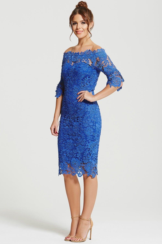 901fd0cf75 Outlet Paper Dolls Cobalt Crochet Lace Bardot Dress in 2019 ...