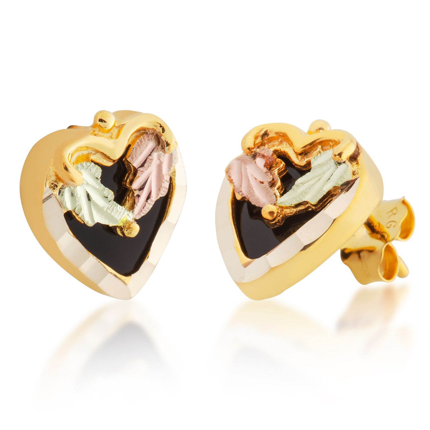 Product Name Black Hills Gold Ladies Genuine Onyx Heart Earrings With Hammered Detailing I Black Hills Gold Jewelry Black Hills Gold Earrings Black Hills Gold