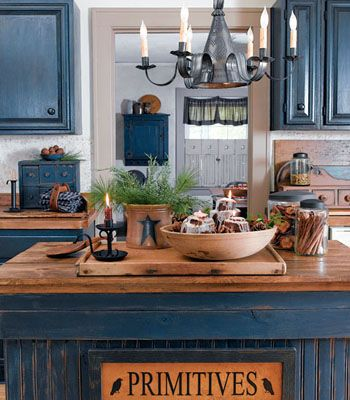 Color In The Kitchen Series Singing The Blues Blue Kitchens That Is Primitive Kitchen Cabinets Rustic Kitchen Cabinets Country Kitchen
