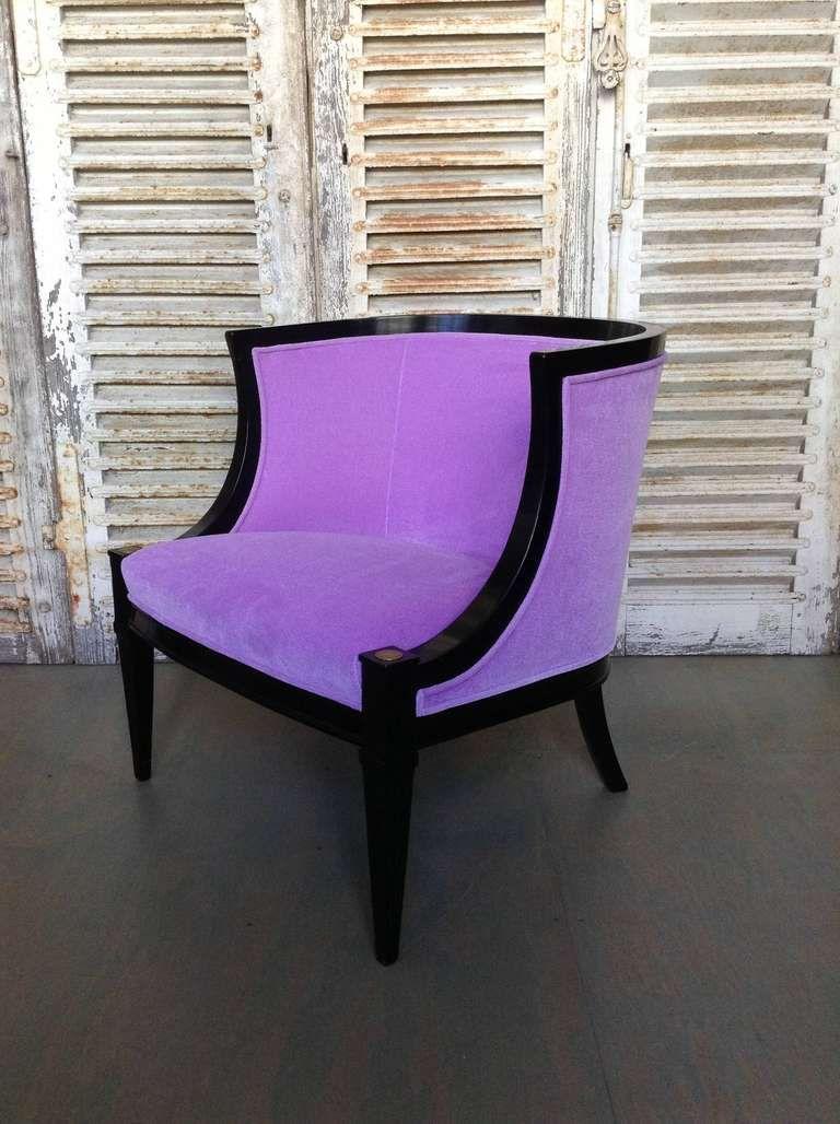 Merveilleux Artistic Rounded Purple Velvet Armchair As Furniture For Living Room  Decoration