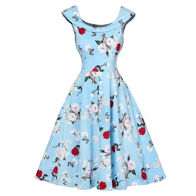 cd2db1929e7 Dresses Length: Knee-Length Silhouette: A-Line Sleeve Length(cm):  Sleeveless Style: Vintage Material: Cotton Waistline: Empire Pattern Type:  Print Neckline: ...