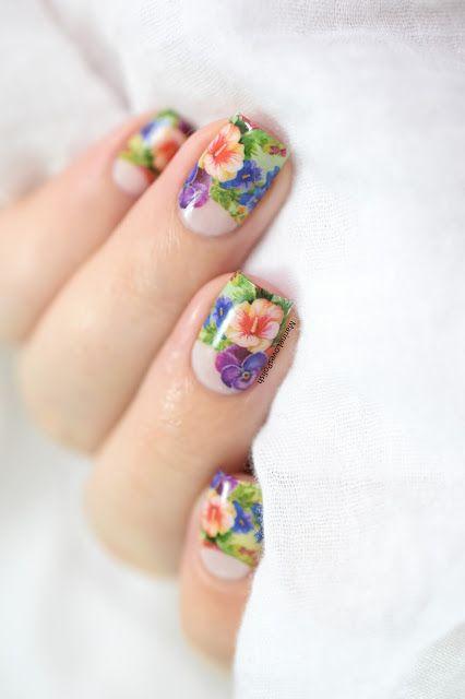Floral Half Moon Flower Nail Art Flower Nails And Nail Art Toes