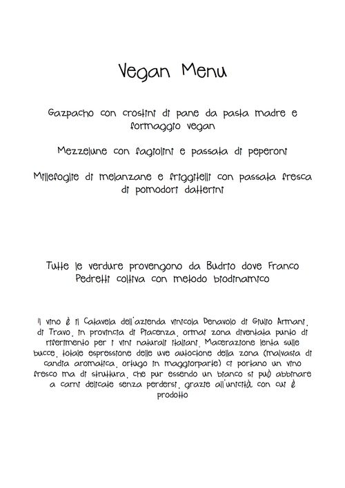 Vegan Menu 25/07/12