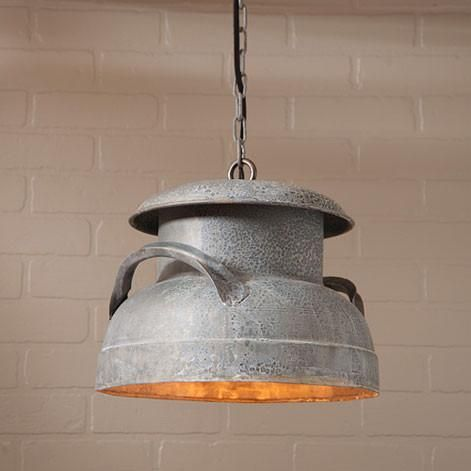 Milk Can Pendant Hanging Light In Weathered Zinc Finish Milk Cans Country Farmhouse Decor Rustic Decor