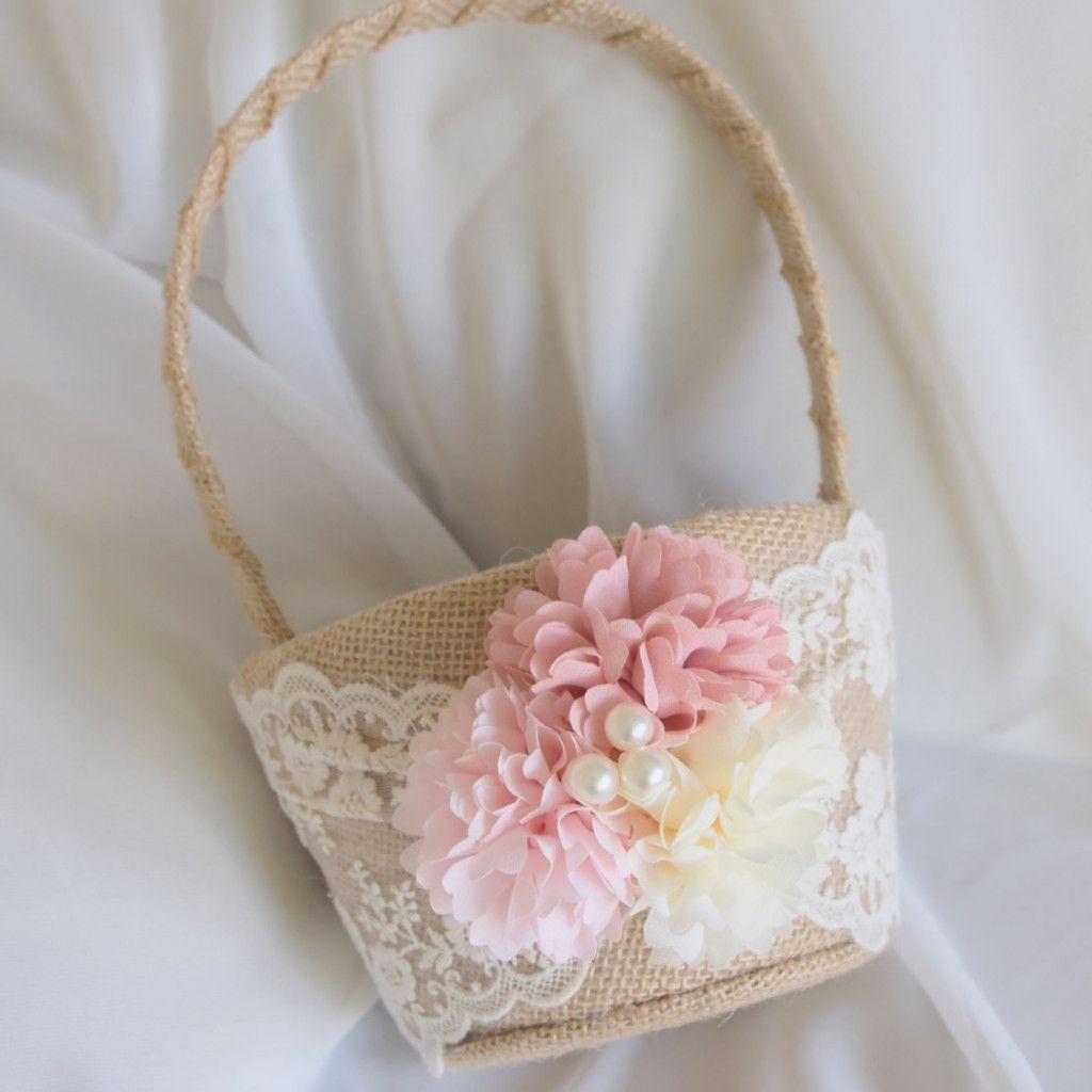 Burlap flower girl basket the classic pink shade