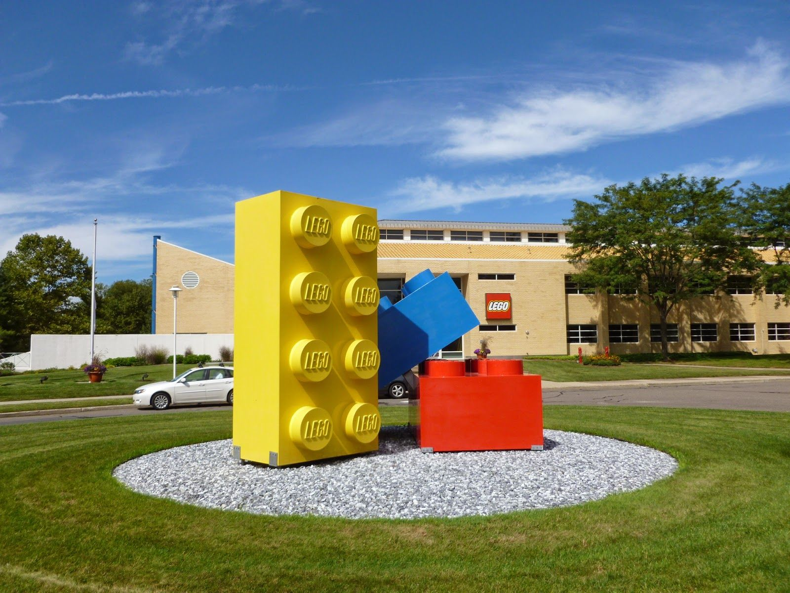 Three sets of these giant Legos are placed around the LEGO company ...