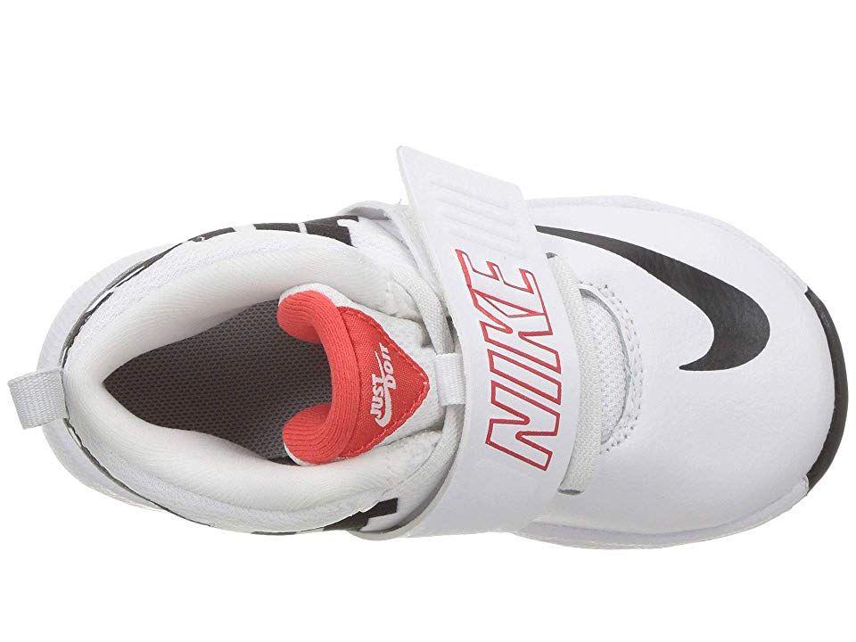 79a58d473c0 Nike Kids Team Hustle D8 Just Do It (Infant Toddler) Boys Shoes  White Black Light Crimson Wolf Grey