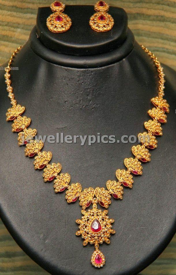 Lotus Design Uncut Necklace By Grt Jewels Latest