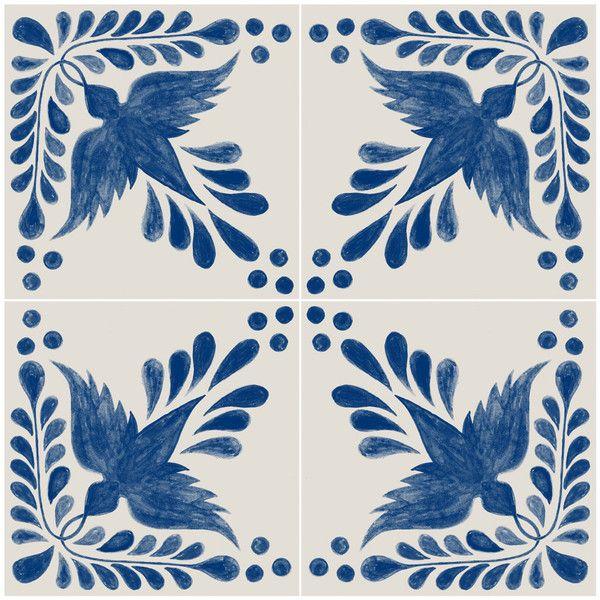 Flora Decor Tile Mexican Hand Painted Tile Sticker Pack Flora Indigo Blue $30