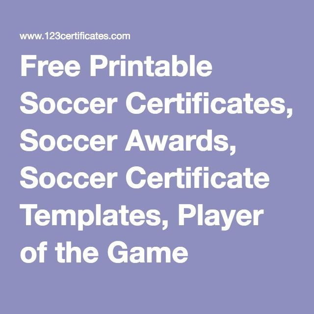 Free Printable Soccer Certificates Soccer Awards Soccer
