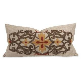 Check out the Imax Worldwide 42192 IK Amena Embroidered Pillow in Warm Autumnal with Down Insert