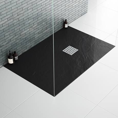 Imperia 1200 X 800mm Black Slate Effect Rectangular Shower Tray Chrome Waste Slate Shower Shower Black Tray