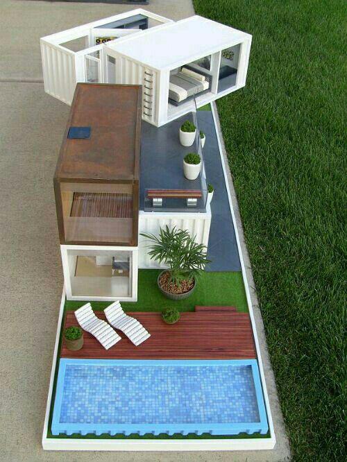 Dise o de maqueta arquitectura casas de cart n - Casas miniaturas para construir ...
