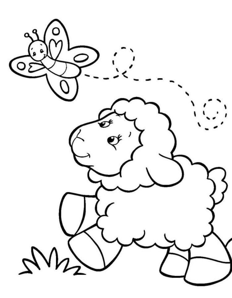 kinder-malvorlagen-tiere-schaf-schmetterling | Basteln mit Kindern ...