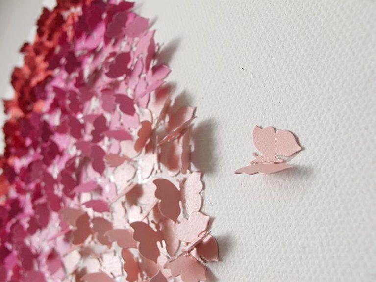 Tutoriales DIY Cómo hacer un cuadro degradé con mariposas